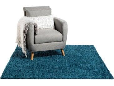 Tapis shaggy à poils longs Swirls Bleu 60x60 cm - Tapis descente de lit