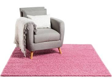 Tapis shaggy à poils longs Swirls Rose 60x60 cm - Tapis descente de lit