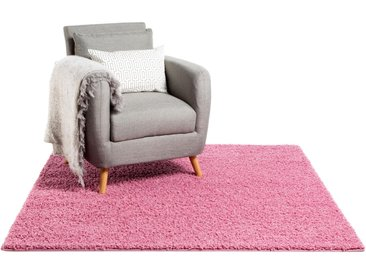 Tapis shaggy à poils longs Swirls Rose 60x60 cm - Tapis descente de lit
