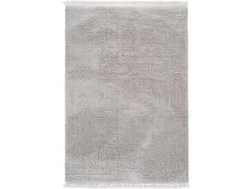 Tapis shaggy à poils longs Ava Gris clair 240x340 cm - Tapis doux pour salon