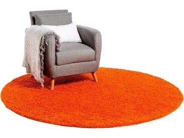 Tapis shaggy à poils longs Swirls Orange ø 250 cm rond - Tapis doux pour salon