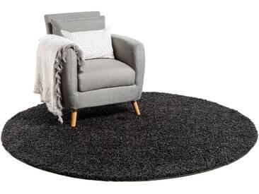 Tapis shaggy à poils longs Swirls Anthracite ø 250 cm rond - Tapis doux pour salon