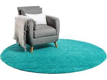 Tapis shaggy à poils longs Swirls Turquoise ø 80 cm rond - Tapis doux pour salon