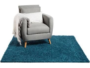 Tapis shaggy à poils longs Swirls Bleu 300x300 cm - Tapis doux pour salon