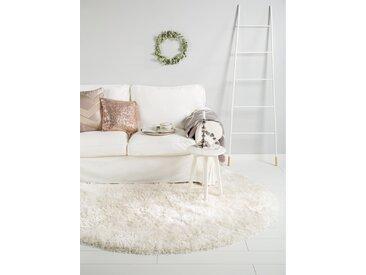 Tapis shaggy à poils longs Lea Blanc ø 160 cm rond - Tapis doux pour salon
