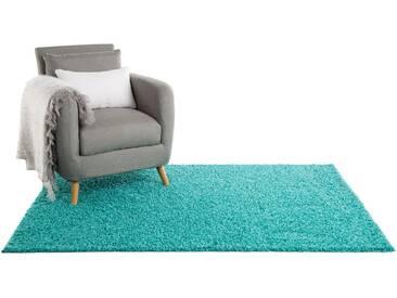 Tapis shaggy à poils longs Swirls Turquoise 200x250 cm - Tapis doux pour salon