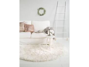Tapis shaggy à poils longs Lea Blanc ø 120 cm rond - Tapis doux pour salon