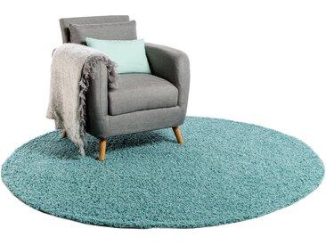 Tapis shaggy à poils longs Swirls Bleu clair ø 200 cm rond - Tapis doux pour salon