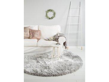 Tapis shaggy à poils longs Lea Gris ø 160 cm rond - Tapis doux pour salon