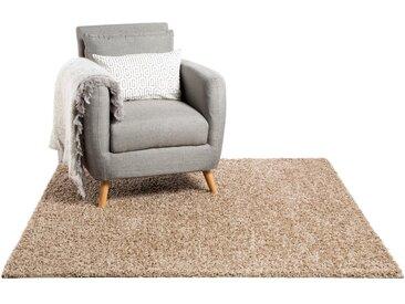 Tapis shaggy à poils longs Swirls Taupe 60x60 cm - Tapis descente de lit