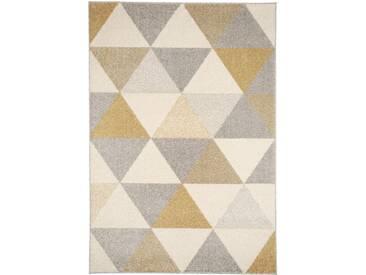 Tapis poil ras Pastel Geomet Jaune 80x150 cm - Tapis poil court design moderne pour salon