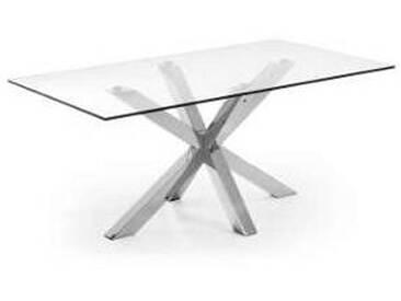 Table rectangulaire de design moderne Gauri en verre et métal