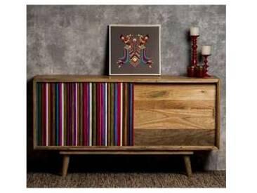 Maie de design moderne en bois de mangue, L.160x P.45cm,Carlotta