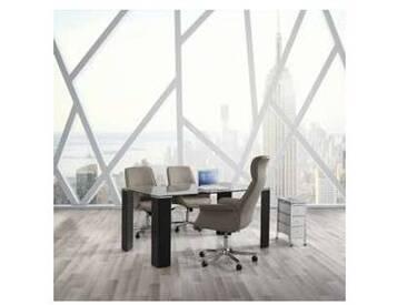 Table de salle à manger en verre et faux cuir Oreste,de design moderne