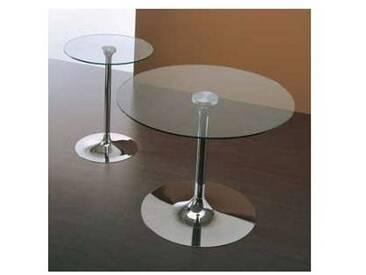 Table moderne Vigo avec plateau en verre trempé transparent
