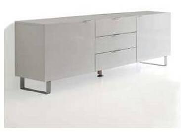 Meuble TV avec 3 tiroirs et 2 portes Saffo, laqué blanc