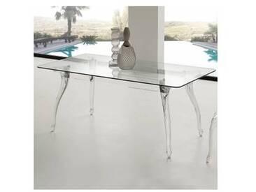 Table de salle à manger avec plateau en verre trempé Jinny
