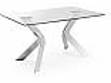 Table de salle à manger en verre Moka 150x90 cm, pieds chrome