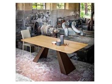 Table de salle à manger moderne en MDF chêne et métal Red 100x200 cm