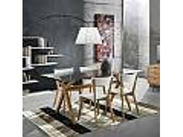 Table de salle à manger en verre trempé et bois massif Kim