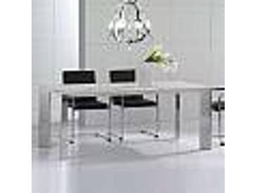 Table en pierre travertin, moderne, pieds d'acier brillant Pompilio