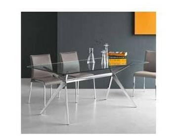 Connubia Calligaris Seven table moderne en verre et métal, L130xP85 cm