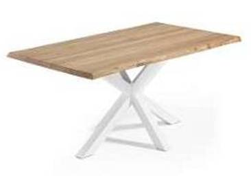 Table rectangulaire en bois et métal Bakula, design contemporain