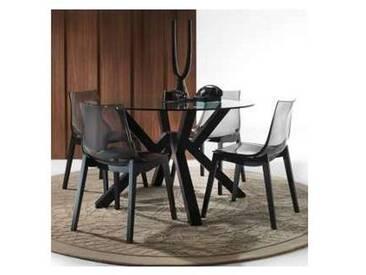 Table en verre et bois massif gris graphite Burgos, de design moderne