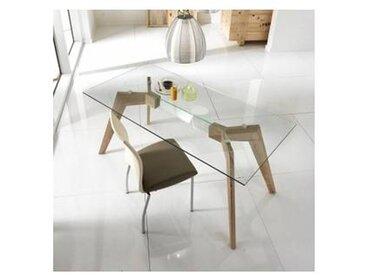 Table à manger en verre et bois MDF Amos, de design moderne