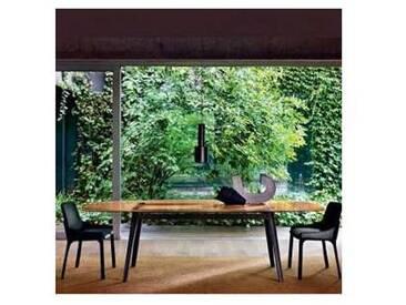 Fiam Italia Magma table design avec dessus en verre et base en chêne.