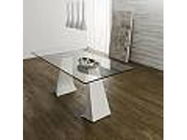 Table de salle à manger de design moderne avec plateau en verre Mammut