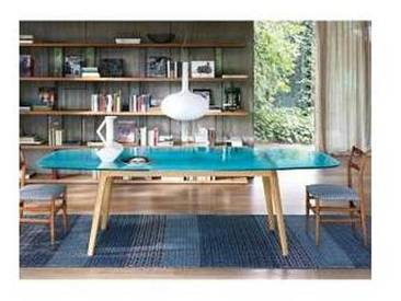 Fiam Italia Magma table de design, dessus en verre bleu et base chêne