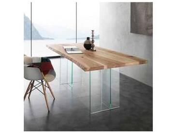 Table de salle à manger en bois massif et verre Marlon
