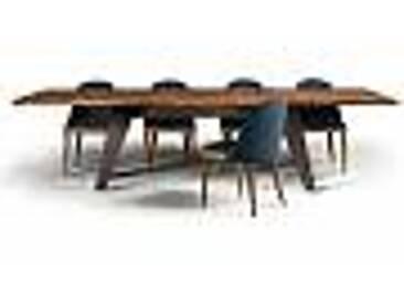 Table à manger en bois écorcé de noyer naturel de design, Antonio