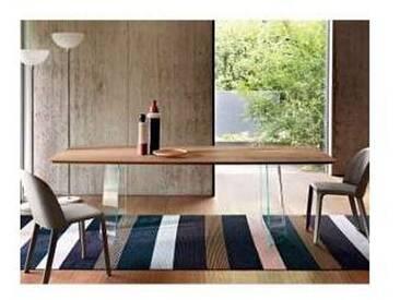Fiam Italia Pliè table moderne avec dessus en bois et base en verre