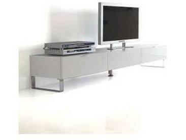 Meuble TV de design moderne avec 3 tiroirs Giove, blanc poli