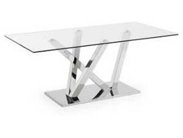 Table de design rectangulaire en verre et métal moderne Maya