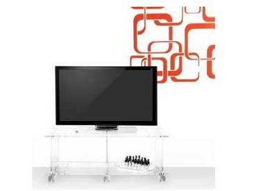 Meuble TV de design moderne en plexiglas transparent Mago