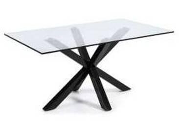 Table rectangulaire Hema en verre et métal de design moderne