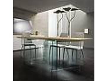 Table de salle à manger moderne, plateau en bois, pieds en verre Aria