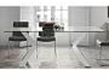 Table moderne en verre Moka 180x90 cm, pieds chrome