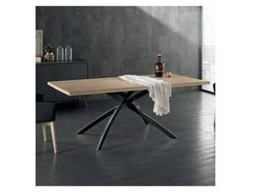 Table de design moderne fixe 200x100cm métal/bois chêne, David