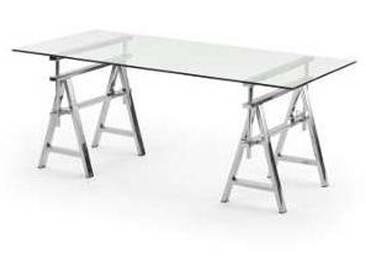 Table acier/ verre hauteur réglable de (L 190xH72/74/78xP90cm) Cristal