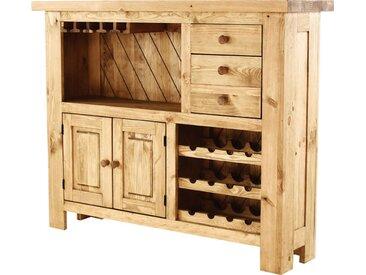 Comptoir De Bar Pin Massif Porte-bouteilles Edelweiss - Grenier Alpin