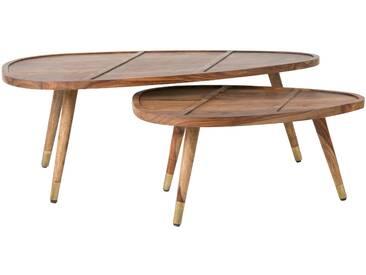 Lot de deux tables basses sham en bois