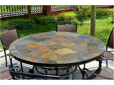 Living ROC Table de jardin ronde mosaïque d'ardoise 125-160 OCEANE