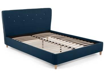 Burcot, lit double, bleu avec passepoil contrastant