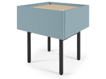 MADE Essentials - Mino, table de chevet, chêne et bleu canard