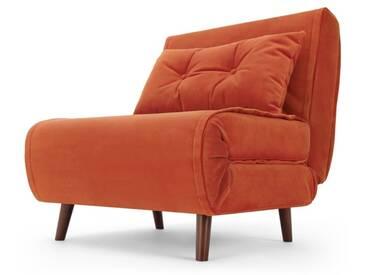 Haru, fauteuil convertible, velours orange flamme