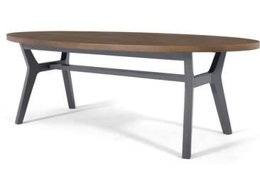 Jenson, table basse ovale, chêne fini foncé et gris